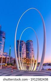 PERTH, AUSTRALIA, JANUARY 16, 2020: Night view of Spanda sculpture in Perth, Australia