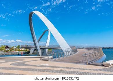 PERTH, AUSTRALIA, JANUARY 16, 2020:Elizabeth Quay Bridge in Perth, Australia