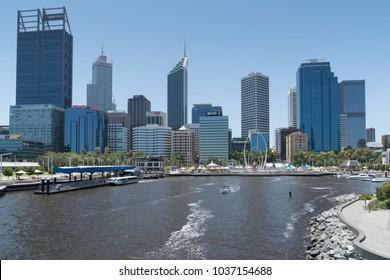 PERTH, AUSTRALIA - JANUARY 21, 2018: Skyline of downtown Perth on January 21, 2018 in Western Australia