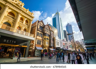 PERTH, AUSTRALIA - July 12, 2017: Hay Street, pedestrian shopping area in downtown Perth with popular boutiques such as the London Court shops