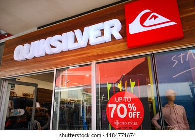 PERTH, AUSTRALIA - JUNE 18, 2018: Quiksilver fashion store in Watertown Brand Outlet. It is one of the world's largest brands of surfwear and other boardsport-related equipment.
