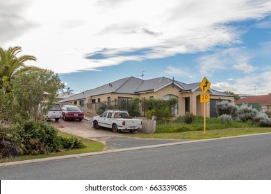 Perth, Australia - June 19, 2017: row of old terrace houses in a side street of Two Roacks road, a working class sorthern suburb of Perth.