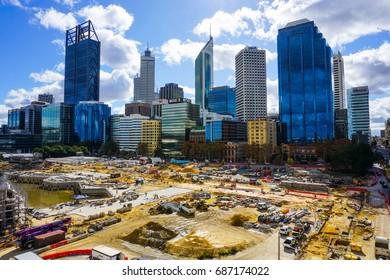 PERTH, AUSTRALIA - JUNE: Beautiful building and construction site near Swan river on june, 2015, Perth, Western Australia, Australia