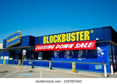 PERTH, AUSTRALIA - March 13, 2019: The last Blockbuster video store in Australia closing down in the suburb of Morley