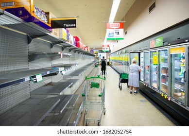 Perth, Australia - March 15, 2020: Supplies shortage at grocery store during the Coronavirus crisis