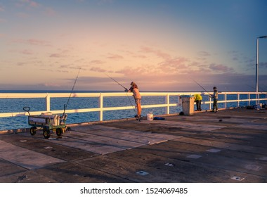 Perth, Australia: March 18th, 2017 : Fishing scenery of Busselton Jetty, Western Australia