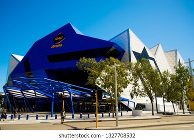 PERTH, AUSTRALIA - March 2, 2019: RAC Arena is an entertainment and sporting arena built in 2012 and was designed by architectural firms Ashton Raggatt McDougall and Cameron Chisholm Nicol
