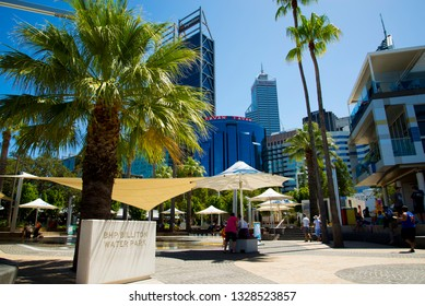 PERTH, AUSTRALIA - March 2, 2019: BHP Billiton interactive water fountain park in Elizabeth Quay