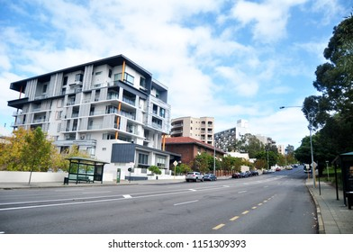 PERTH, AUSTRALIA - MAY 15 : Traffic road and Australian people walking besign road on Hay street at front of morning glory shopping mall at Perth city on May 15, 2016 in Perth, Australia