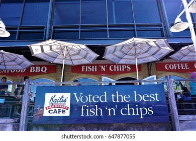 PERTH, AUSTRALIA - MAY, 2017 : Kailis' Fish & Market Cafe Fremantle located on the waterfront in Fishing Boat Harbour. Kailis' has been serving the freshest and award winning fish and chips since 1928
