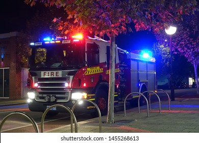 Perth, Australia - May 31, 2018: A fire engine responds to an emergency in the city centre.