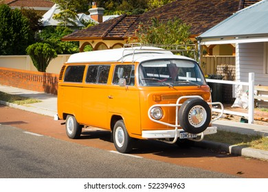 PERTH, AUSTRALIA - NOVEMBER 11 2016 : German VW Camper van on Fremantle city, Western Australia .