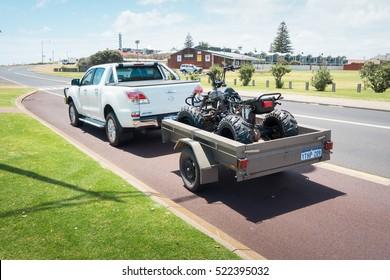PERTH, AUSTRALIA - November 11, 2016 :  4x4 vehicles  and four wheel Motorcycle at the little coastal town of Myalup near Bunbury Western Australia .