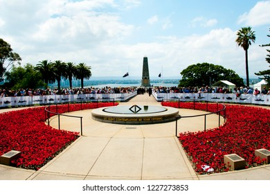 PERTH, AUSTRALIA - November 11, 2018: Centenary Remembrance Day at the State War Memorial in Kings Park