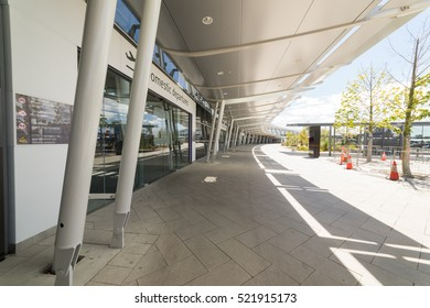 PERTH, AUSTRALIA - NOVEMBER 12,2016 : Modern glass facade of Perth airport. Perth Airport is a domestic and international airport serving Perth, the capital and largest city of Western Australia.