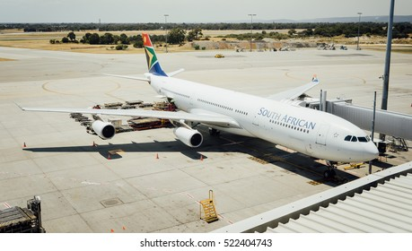 PERTH, AUSTRALIA - NOVEMBER 12,2016 : South African Airways Airbus A340 taxies on Perth airport in an Olympics color scheme, on November 12 2016 in Perth, Australia.