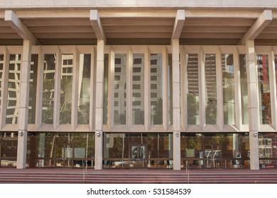 Perth, Australia - November 18 2016: The exterior of Perth Concert Hall in the CBD area of Perth.