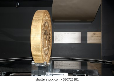 PERTH, AUSTRALIA - November 22, 2016:  World's largest gold coin produced by the Perth Mint and weighing in at 1000kg (1 ton)