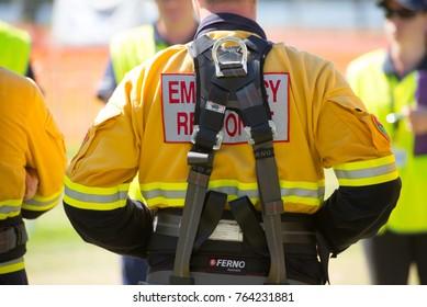 Perth, Australia, November 26, 2017: Members of emergency response team at exercise briefing.