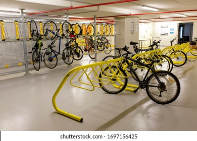 Perth, Australia - November 7th 2015 - Basement of city office building showing end of trip facilities. Showing bike racks, concrete floor and walls.