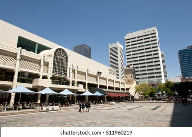 PERTH, AUSTRALIA - October 30, 2016: Murray Street Mall is a popular local and tourist pedestrian area for shopping and leisure walks