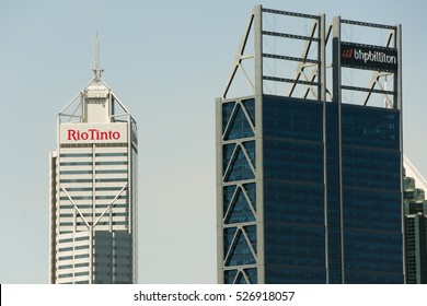 PERTH, AUSTRALIA - October 30, 2016: Rio Tinto & BHP Billiton buildings. These are the 2 biggest mining companies in the world.