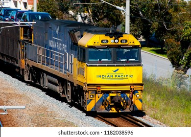 PERTH, AUSTRALIA - September 16, 2018: Indian Pacific passenger rail train that operates between Sydney, on the Pacific Ocean, and Perth, on the Indian Ocean
