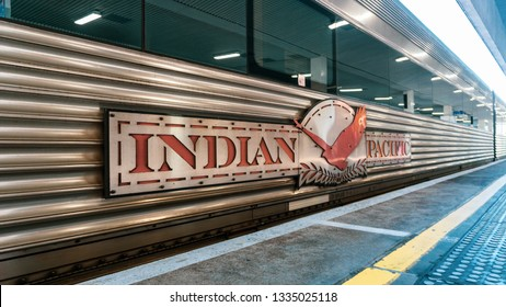 PERTH, AUSTRALIA - September 2, 2018. Wagon and logo of Indian Pacific train at the Perth railway station. Connects Perth, Kalgoorlie, Nullarbor Plain, Adelaide, Broken Hill, Sydney