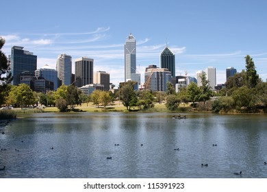 Perth, Australia. View from John Oldany park. Australian skyscrapers water reflection.