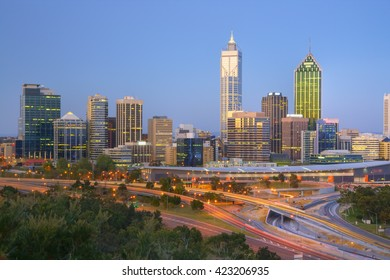 Perth, capital city of Western Australia, the skyline illuminated at twilight.