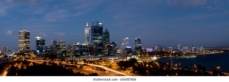 Perth city lights at night from kings park