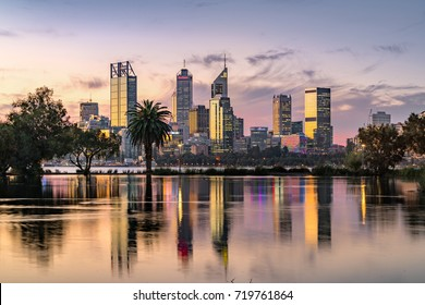 Perth city skyline from the South Perth foreshore. Perth, Western Australia, Australia. Photographed: September 16th, 2017.