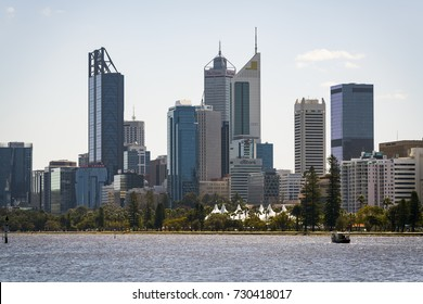 The Perth city skyline viewed from Heirisson Island, Western Australia. Photographed: October 4th, 2017.