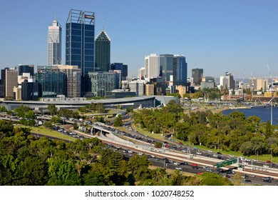 Perth City, Western Australia - February 8, 2018: View from King's Park, overlooking the City of Perth and the Swan River