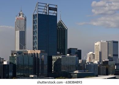 Perth City, Western Australia: May 11, 2017 - Mid shot of the city central business district from Kings Park in the afternoon