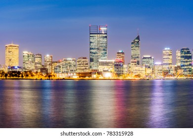 Perth City in Western Australia, Australia at twilight as the city lights begin to turn on. Photographed: April 7th, 2017.