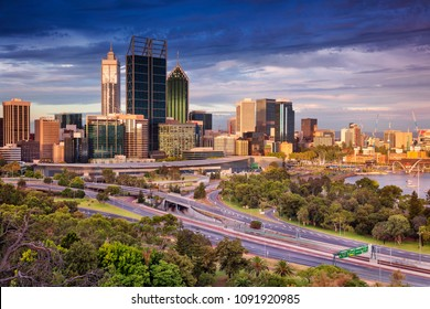 Perth. Cityscape image of Perth skyline, Australia during sunset.