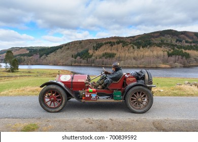 PERTH AND KINROSS, SCOTLAND - APRIL 2, 2017: A 1913 American Chalmers 10   competes on the 2017 Flying Scotsman Rally for Pre War cars organised by ERA (Endurance Rally Association).
