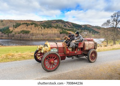 PERTH AND KINROSS, SCOTLAND - APRIL 2, 2017: A 1907 Italia 40 competes on the 2017 Flying Scotsman Rally for Pre War cars organised by ERA (Endurance Rally Association).