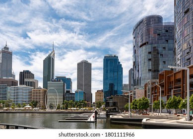 Perth, Nov 2019: Elizabeth Quay with Perth city center, skyscrapers and modern sculpture called Spanda. Water park and modern architecture, WA