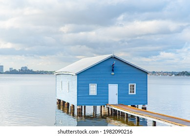 Perth, Nov 2019: Famous little blue boat house - The Crawley Edge Boatshed located on the Swan River at Crawley in Perth. Tourism in Western Australia