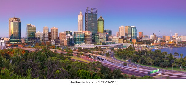 Perth. Panoramic cityscape image of Perth skyline, Australia during twilight blue hour.