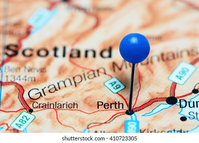 Perth pinned on a map of Scotland
