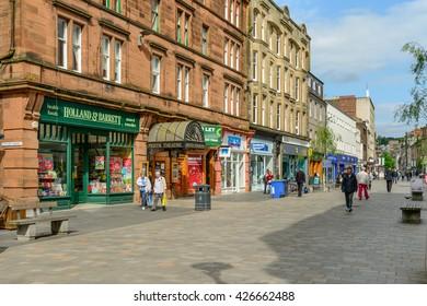 PERTH, SCOTLAND - MAY 24, 2016: High Street in Perth, Scotland.