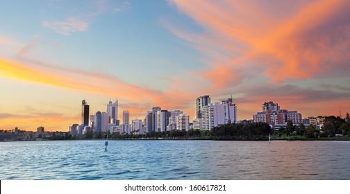 Perth skyline during sunset, west Australia