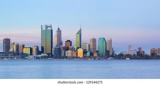 Perth skyline at dusk