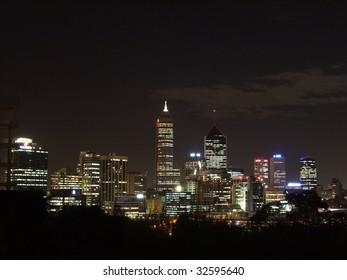 Perth Skyline at night, Western Australia