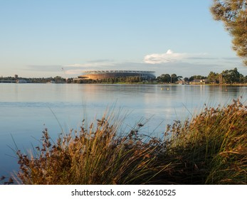 The Perth Stadium, currently under construction, on the Swan River in Western Australia