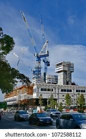 PERTH, WA, AUSTRALIA - NOVEMBER 27: Construction activity for new hotel complex on harbor side in the capital of Western Australia, on November 27, 2017 in Perth, Australia