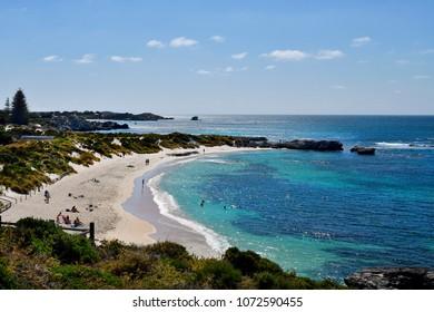 PERTH, WA, AUSTRALIA - NOVEMBER  27: Unidentified people on beach in Rottnest Island, preferred travel destination in Western Australia, on November 27, 2017 in Perth, Australia